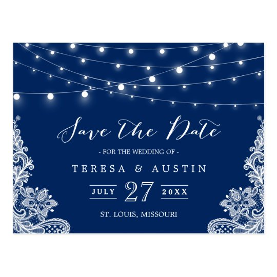 Navy Blue String Lights Elegant Lace Save the