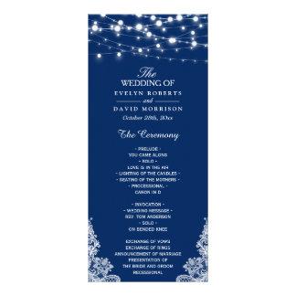 Navy Blue String Lights Lace Wedding Program 10 Cm X 23 Cm Rack Card