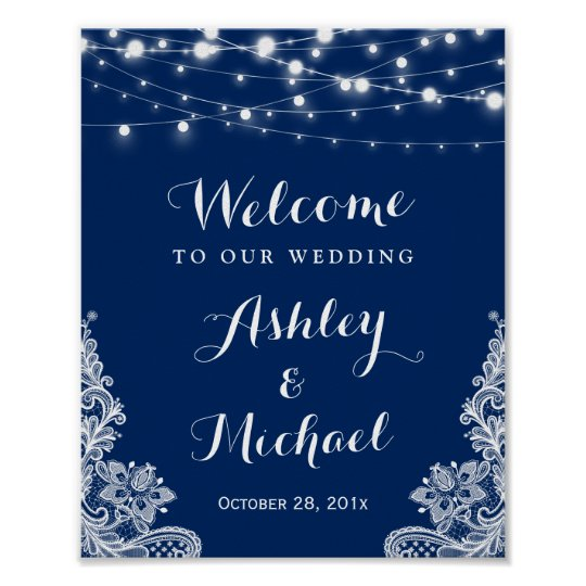 Navy Blue String Lights White Lace Wedding Sign