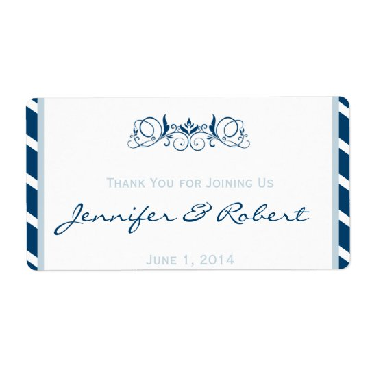 Navy Blue Stripe Floral Accent Water Bottle Label Shipping Label