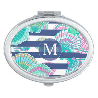 Navy Blue Stripe Seashell Monogram Mirror For Makeup