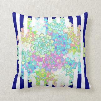 Navy Blue Striped Blues Flowers Pillow