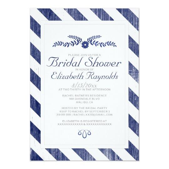 Navy Blue Stripes Bridal Shower Invitations