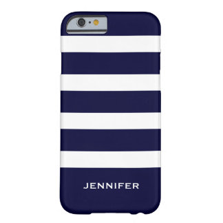 Navy Blue Stripes Changeable White Background Barely There iPhone 6 Case