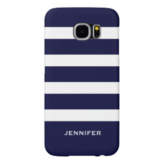 Navy Blue Stripes Changeable White Background Samsung Galaxy S6 Cases