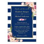 Navy Blue Stripes Floral | Classy Formal Wedding 13 Cm X 18 Cm Invitation Card