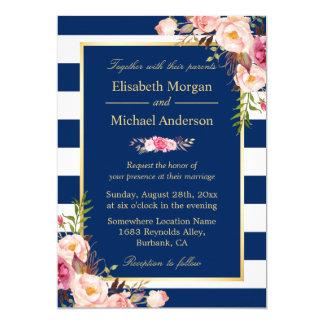 Navy Blue Stripes Floral | Classy Formal Wedding Card