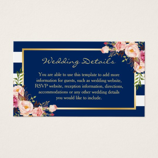 Navy Blue Stripes Floral Wedding Insert Card