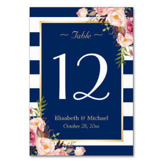 Navy Blue Stripes Floral Wedding Table Number Table Cards