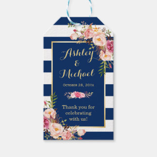 Navy Blue Stripes Floral Wedding Thank You Gift Tags