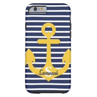 Navy Blue Stripes Gold Anchor Monogram Name Tough iPhone 6 Case