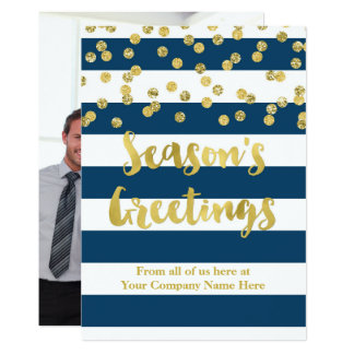 Navy Blue Stripes Gold Confetti Christmas Business Card