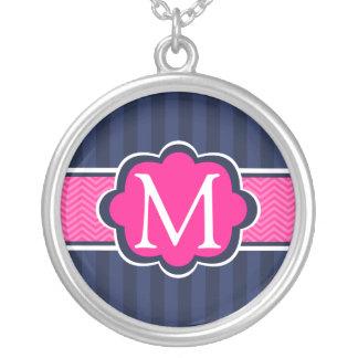 Navy Blue Stripes Hot Pink Custom Monogram Personalized Necklace