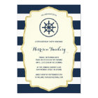 Navy Blue Stripes | Nautical Birthday Party Card