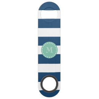 Navy Blue Stripes Pattern, Mint Green Monogram