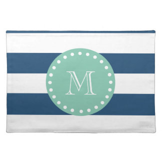 Navy Blue Stripes Pattern, Mint Green Monogram Placemat