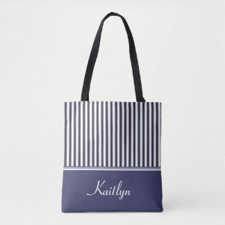 Navy Blue Stripes | Personalized Tote Bag