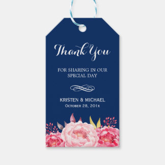 Navy Blue Stripes Romantic Floral Thank You Gift Tags