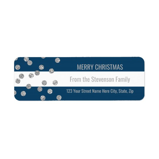 Navy Blue Stripes Silver Confetti Merry Christmas