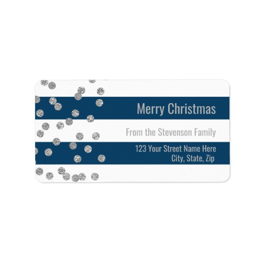 Navy Blue Stripes Silver Confetti Merry Christmas Label