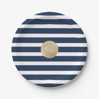 Navy blue stripes simple modern wedding monogram 7 inch paper plate