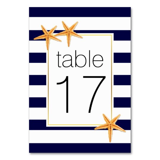 Navy blue stripes & starfish wedding table number