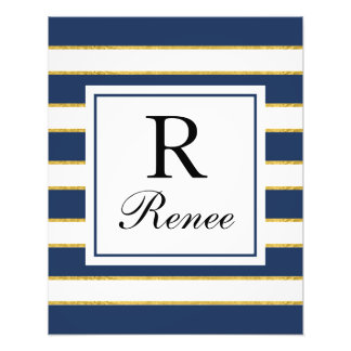Navy Blue Stripes w/Gold Foil Photo Print