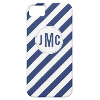 Navy Blue Stripes with Custom Monogram iPhone 5 Covers