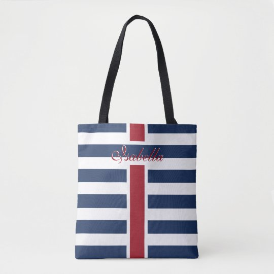 Navy Blue Stripes with your Name Tote Bag