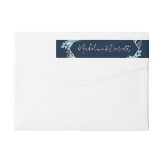 Navy Blue Succulents & Rose Gold Frame Wedding Wrap Around Label