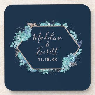 Navy Blue Succulents & Rose Gold Wedding Monogram Coaster
