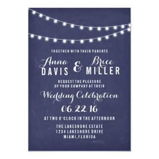 Navy Blue Summer String Light Wedding Invites