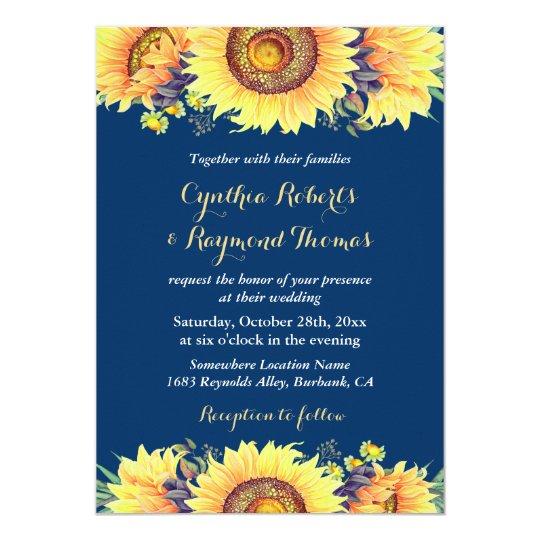 Navy Blue Sunflowers Rustic Romantic Wedding Card