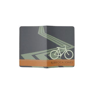 NAVY BLUE TAN ORANGE LEATHER BIKE BICYCLE MONOGRAM PASSPORT HOLDER