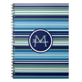 Navy Blue Teal And White Striped Pattern Name Notebooks