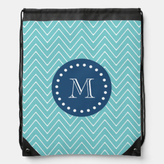 Navy Blue, Teal Chevron Pattern | Your Monogram Drawstring Bag