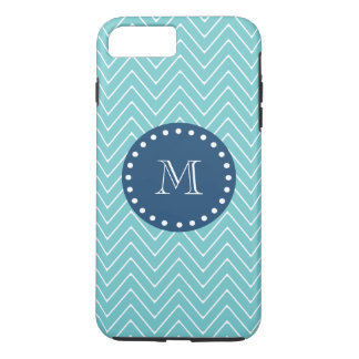 Navy Blue, Teal Chevron Pattern | Your Monogram iPhone 8 Plus/7 Plus Case