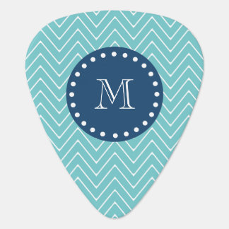 Navy Blue, Teal Chevron Pattern | Your Monogram Plectrum