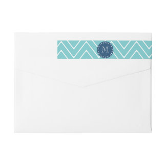 Navy Blue, Teal Chevron Pattern | Your Monogram Wrap Around Label