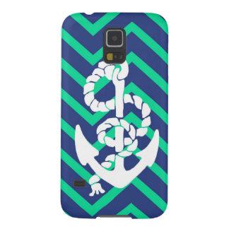 Navy Blue & Teal Chevrons White Anchor Nautical Galaxy S5 Cover