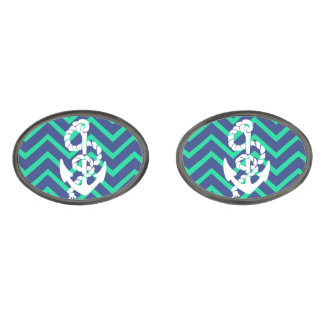 Navy Blue & Teal Chevrons White Anchor Nautical Gunmetal Finish Cufflinks