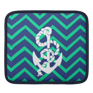 Navy Blue & Teal Chevrons White Anchor Nautical iPad Sleeve