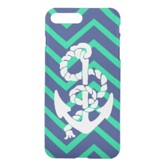 Navy Blue & Teal Chevrons White Anchor Nautical iPhone 8 Plus/7 Plus Case