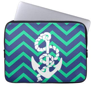 Navy Blue & Teal Chevrons White Anchor Nautical Laptop Sleeve