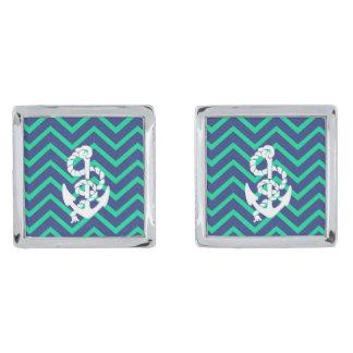 Navy Blue & Teal Chevrons White Anchor Nautical Silver Finish Cufflinks