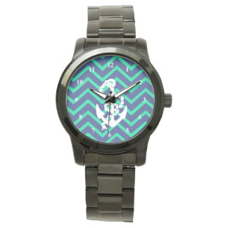 Navy Blue & Teal Chevrons White Anchor Nautical Watch