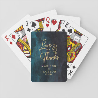 Navy Blue & Teal Watercolor & Gold Wedding Favor Playing Cards