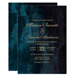 Navy Blue Teal Watercolor Gold Wedding Invitation
