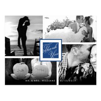 Navy Blue Thank You Wedding 4 Photo Postcard
