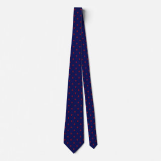 Navy Blue Tie with Small Red Paw Print Pattern